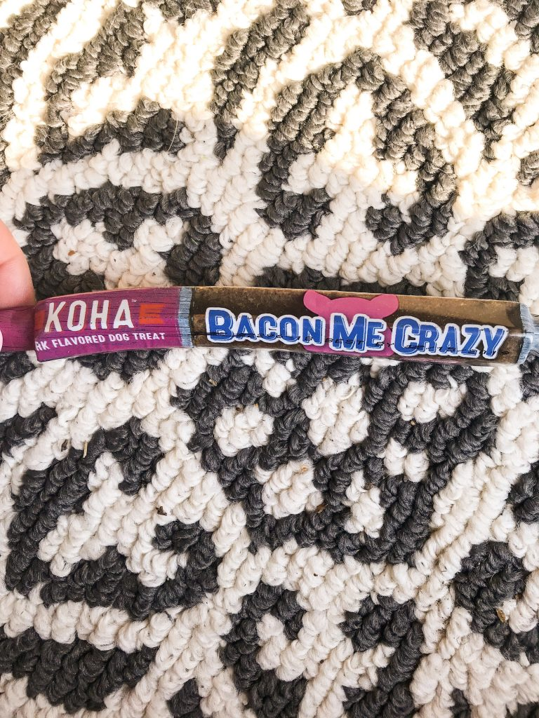 February BarkBox Review 2018 - Koha Bacon Dog Chew