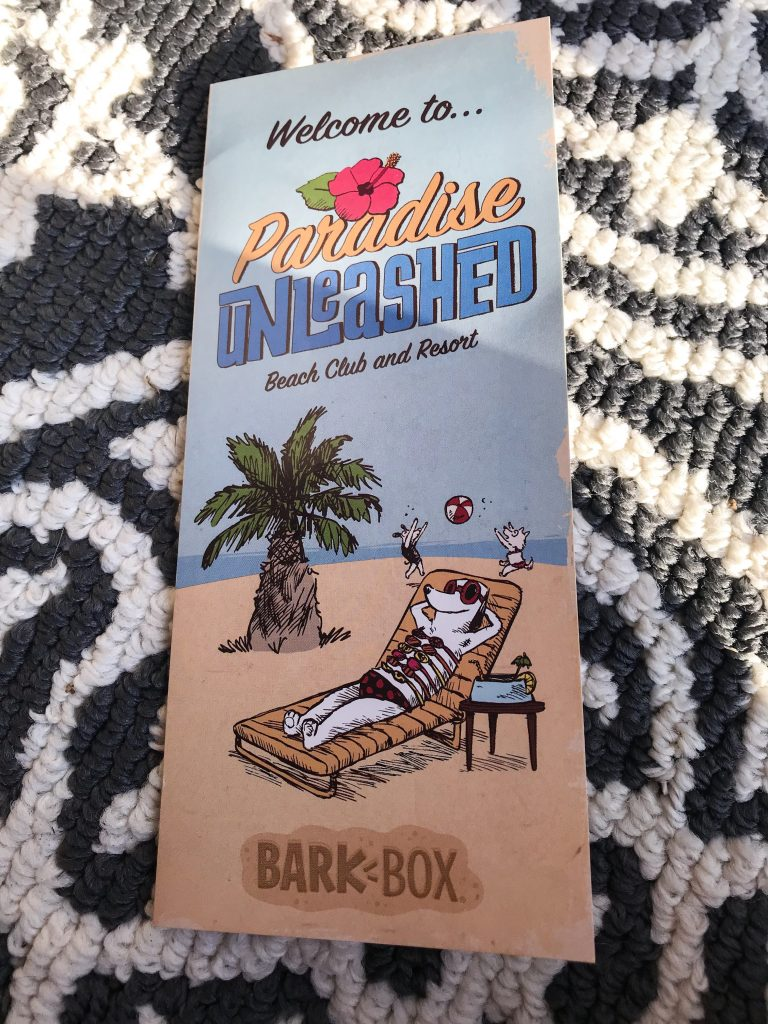 February BarkBox Review 2018 - Paradise Unleashed Theme