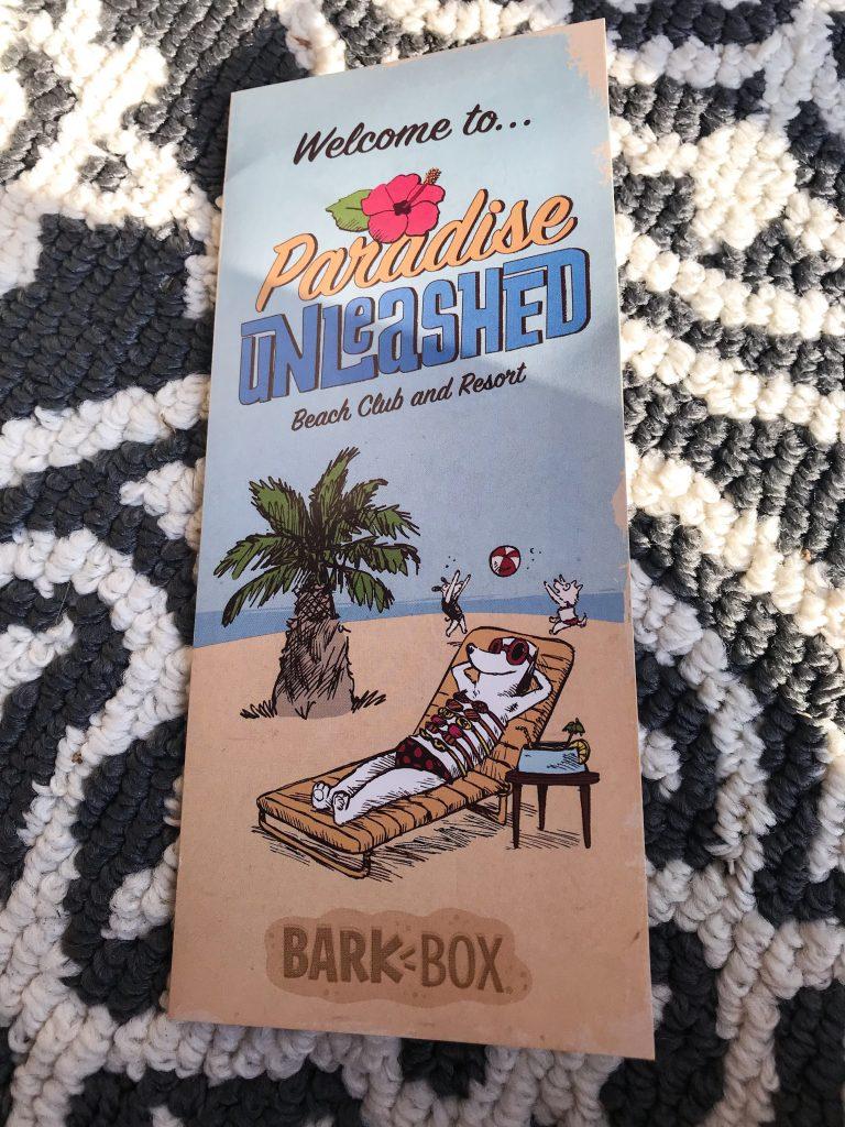 February BarkBox Review 2018 - Paradise Unleashed Theme