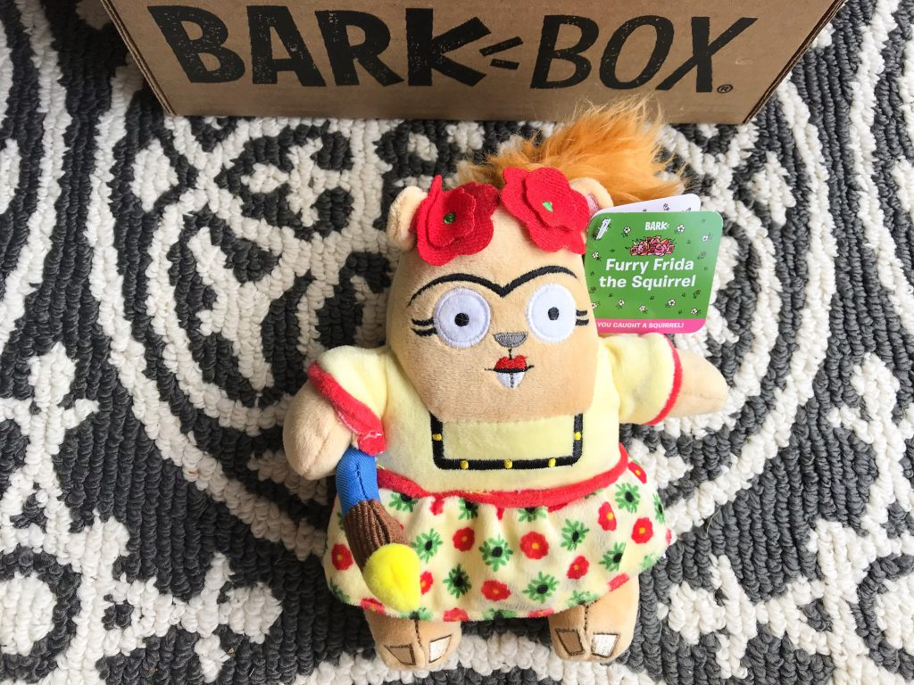 Barkbox Review - March BarkBox 2018 La Artista Squirrelista Furry Frida the Squirrel