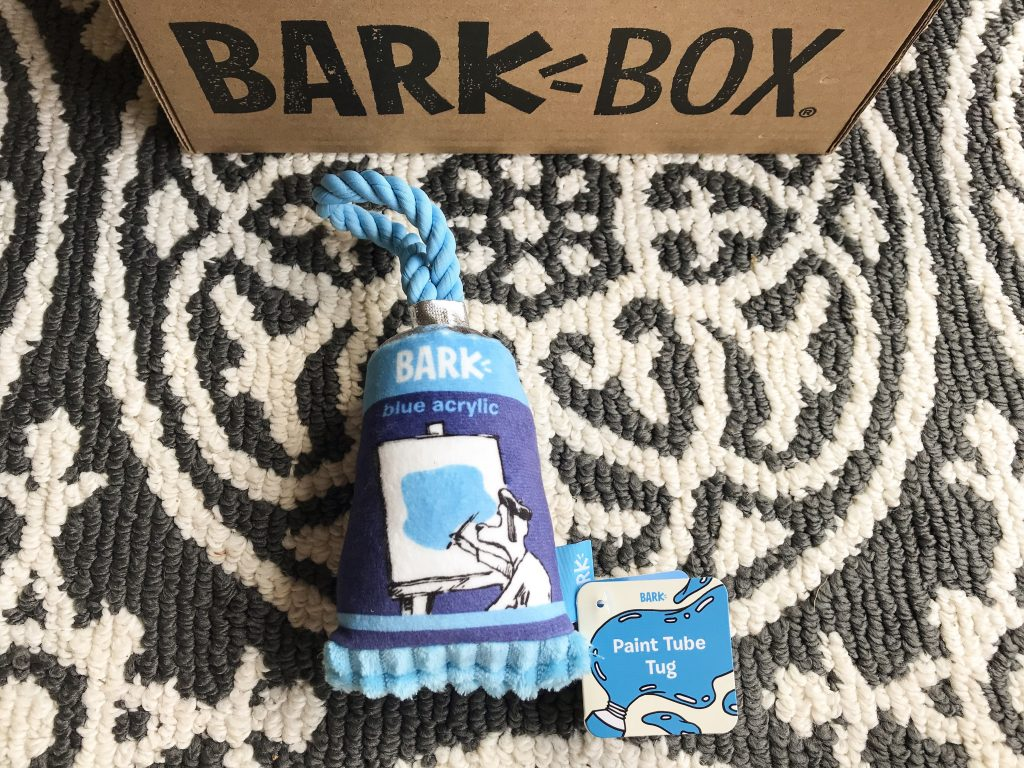 Barkbox Review - March BarkBox 2018 Paint Tube Tug Toy