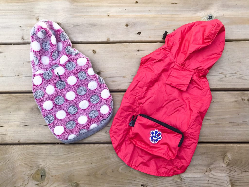 What's in Marlee's Dog Overnight Bag - Sweater and Rain Jacket