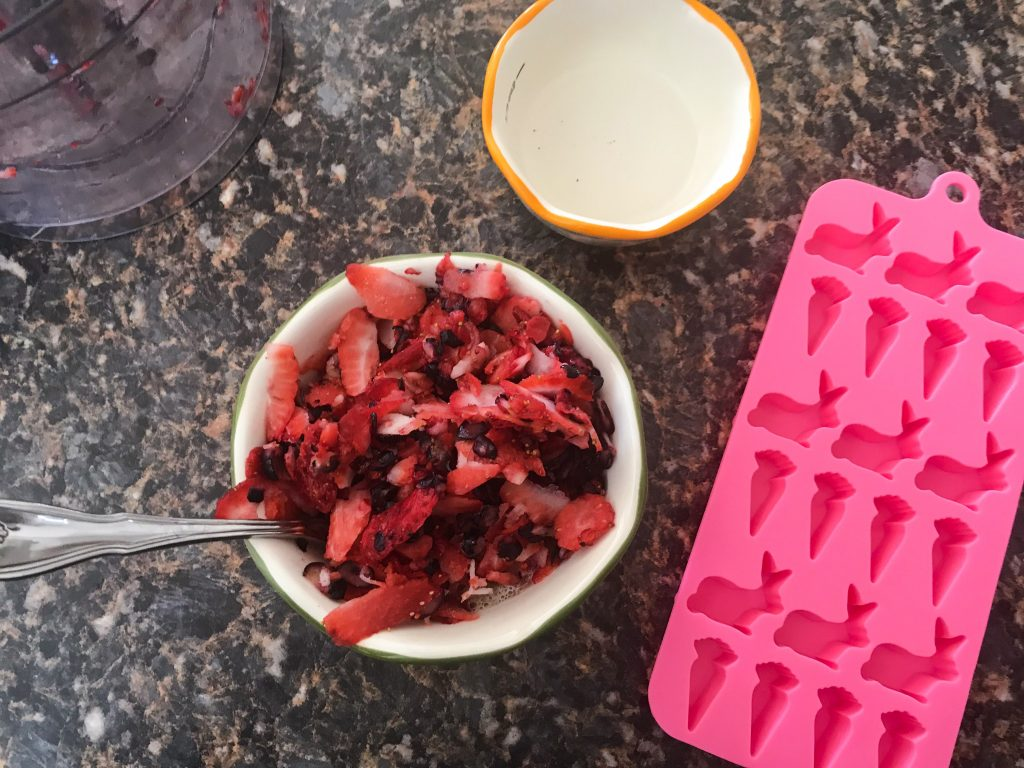 Frozen Strawberry-Blueberry Layered Dog Treats