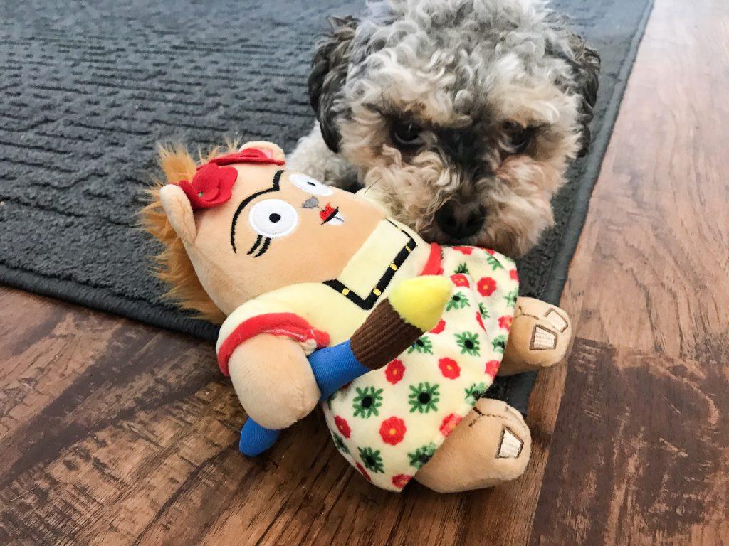 Barkbox Review - March BarkBox 2018 Marlee with La Artista Squirrelista Furry Friday the Squirrel Toy