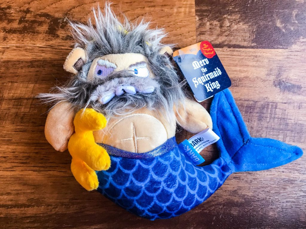 April BarkBox Review - Merv the Squirmaid King Toy