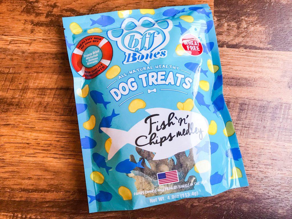 April BarkBox Review - bff Bones All Natural Healthy Dog Treats Fish 'n' Chips Medley