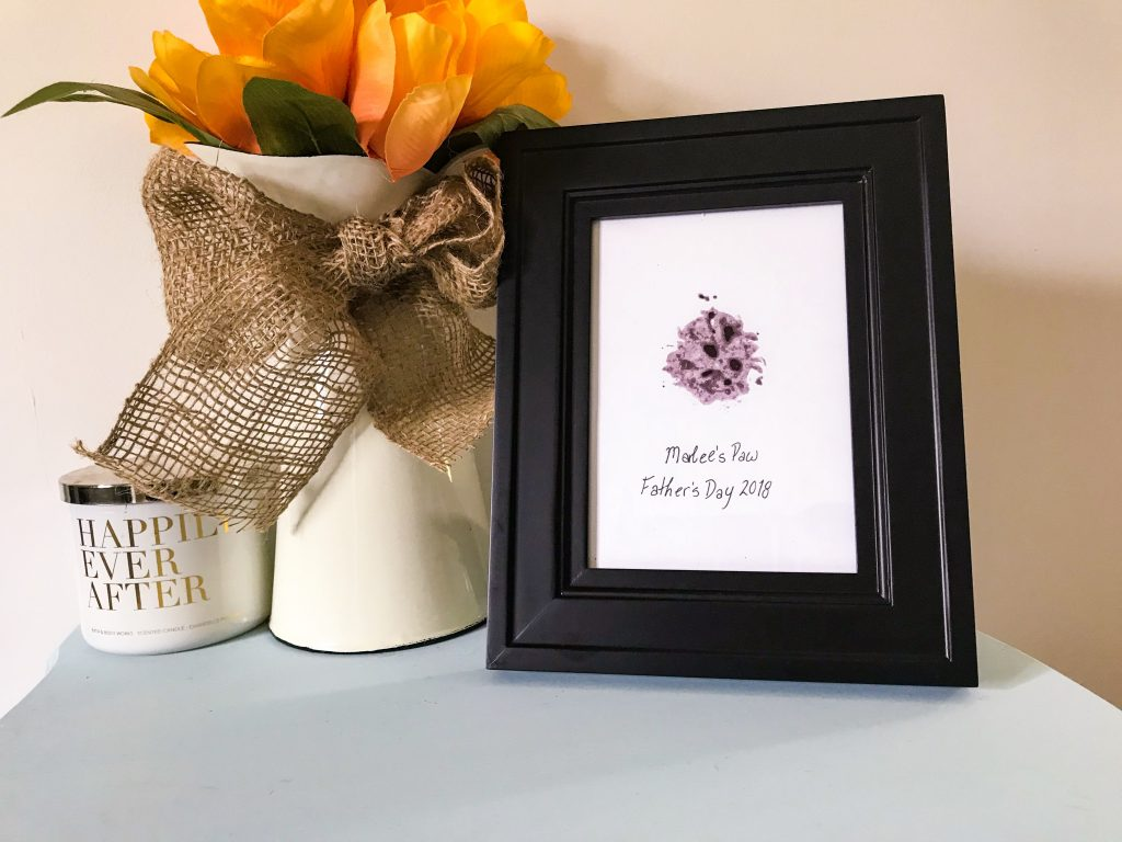 Father's Day Gift Guide for Dog Dads - DIY Pet Safe Ink Paw Print Picture